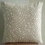 Подушка с украшением из пайеток и кружева 2