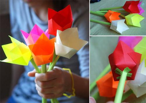 Тюльпаны из бумаги своими руками с видео
