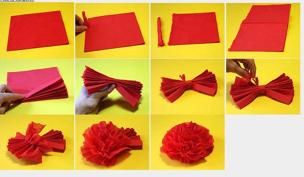 Как делать из салфеток цветы своими руками видео