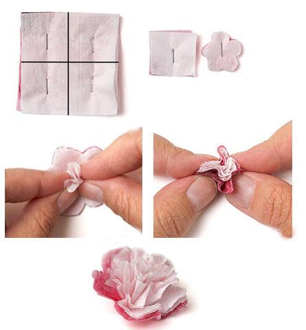 كيفية جعل زهرة من منديل بيديك