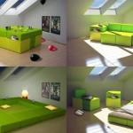 Игровой модуль в детской комнате к вечеру превращается в кровать и тумбы