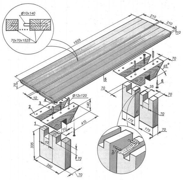 Как сделать скамейку из дерева своими руками размеры фото 207