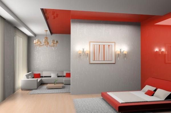 Дизайн спальни совмещённой с комнатой