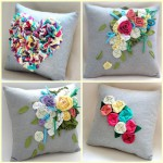 Подушка украшенная цветами 11