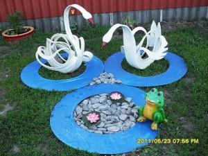 Гуси лебеди из шин