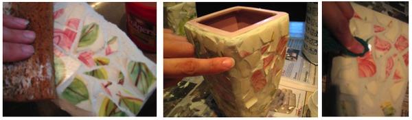 Украшение пластмассовой вазы 5