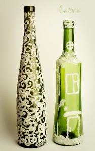Декорирование стеклянных бутылок манной крупой