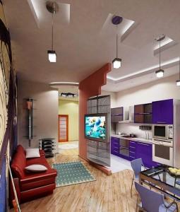 Объединение зала и кухни