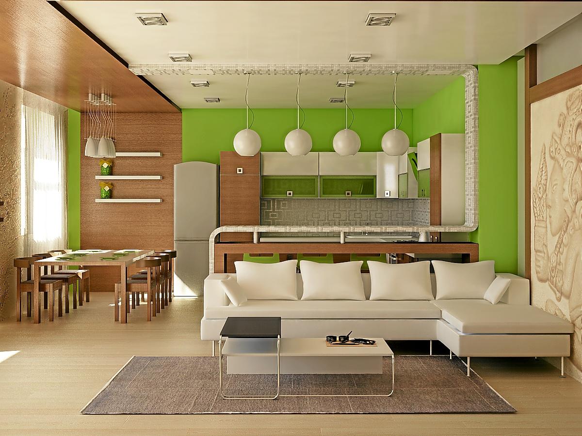 Простой дизайн кухни гостиной