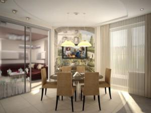 Интерьер кухни, совмещенной с гостино