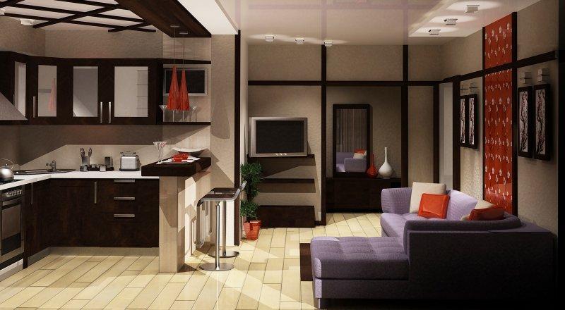 Кухня с гостинной дизайн