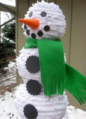 Объемный снеговик из бумаги