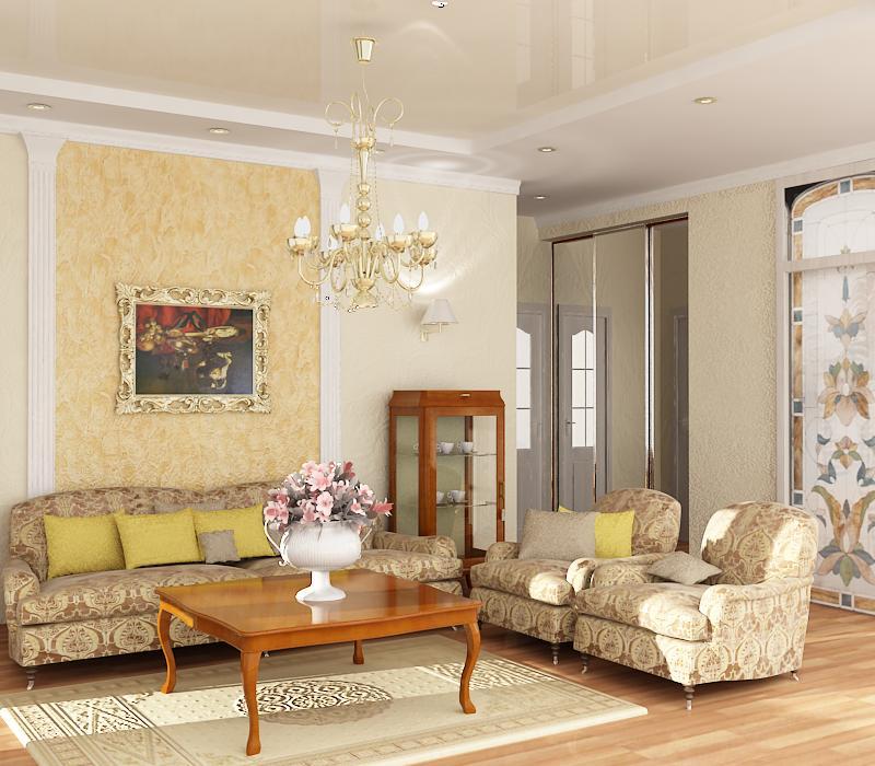 Дизайн зала в квартире выполненный в