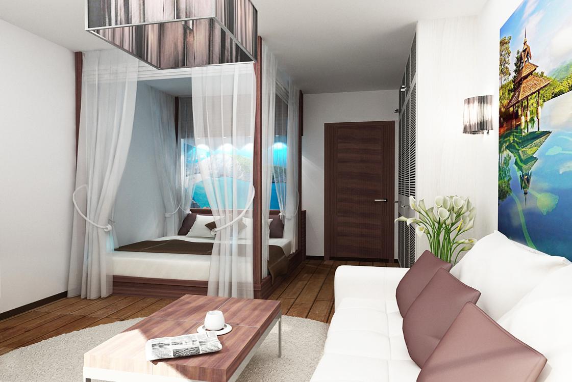 Квартира студия с кроватью и диваном