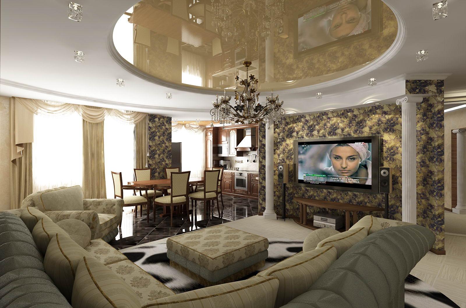 Дизайн интерьера гостиной зала