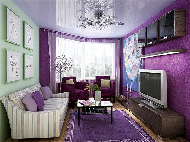 Дизайн фиолетовая спальня