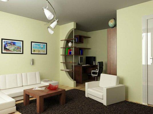 Зонирование комнаты на гостевую и рабочую