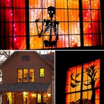 Страшные силуэты в окнах домов на Хэллоуин