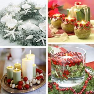 Композиции из еловых веток и свечей