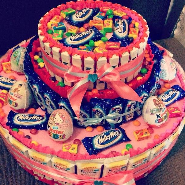 Торт из конфет из киндер и конфет своими руками фото 106