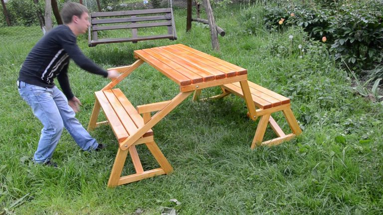Раскладной стол с лавками своими руками 38